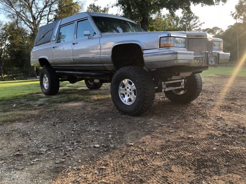 custom lifted 1991 Cadillac Brougham hearse 4×4 for sale